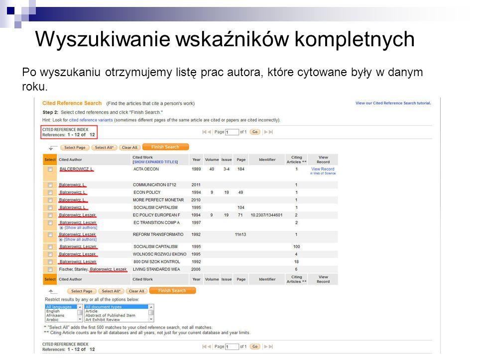 Wyszukiwanie wskaźników kompletnych Po wyszukaniu otrzymujemy listę prac autora, które cytowane były w danym roku.