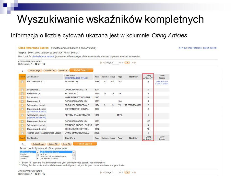 Wyszukiwanie wskaźników kompletnych Informacja o liczbie cytowań ukazana jest w kolumnie Citing Articles