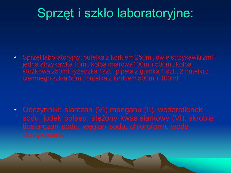 Sprzęt i szkło laboratoryjne: Sprzęt laboratoryjny: butelka z korkiem 250ml, dwie strzykawki 2ml i jedna strzykawka 10ml, kolba miarowa100ml i 500ml,