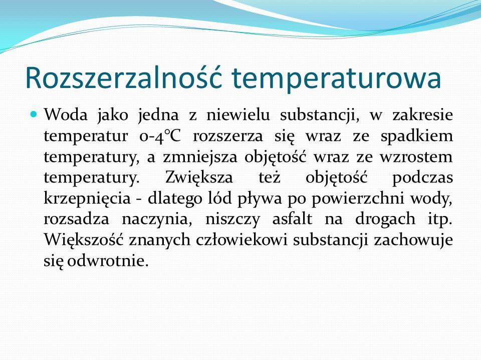 Rozszerzalność temperaturowa Woda jako jedna z niewielu substancji, w zakresie temperatur 0-4°C rozszerza się wraz ze spadkiem temperatury, a zmniejsza objętość wraz ze wzrostem temperatury.