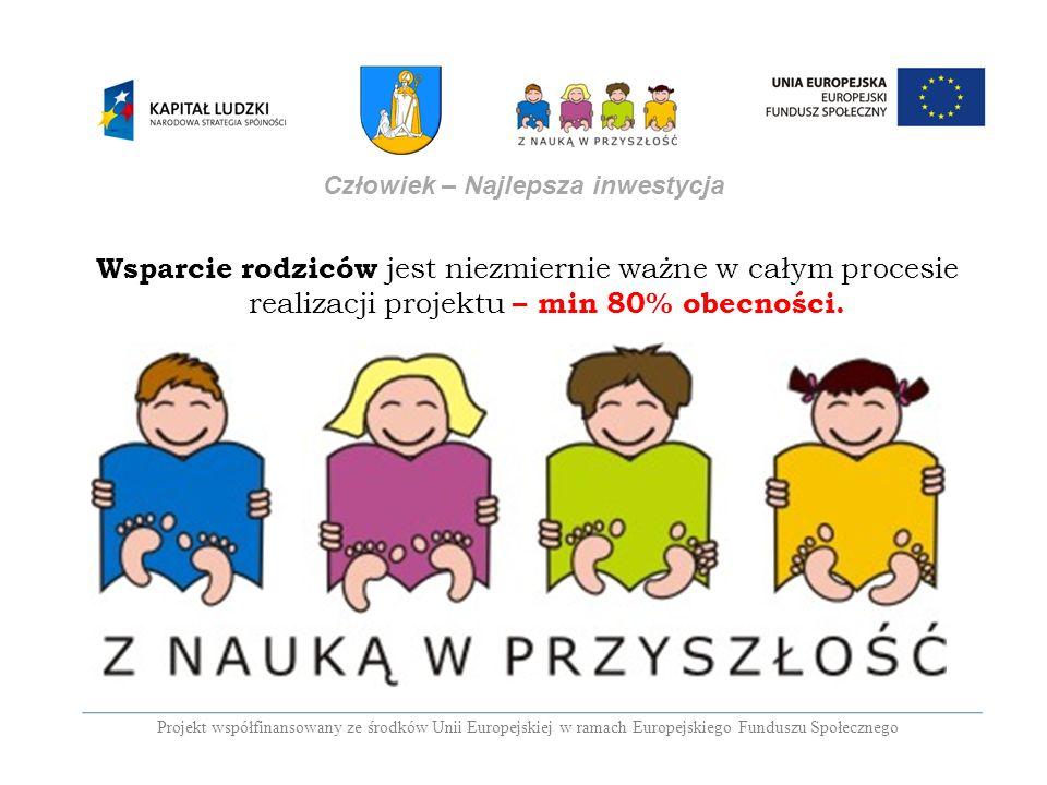 Projekt współfinansowany ze środków Unii Europejskiej w ramach Europejskiego Funduszu Społecznego Człowiek – Najlepsza inwestycja Wsparcie rodziców je