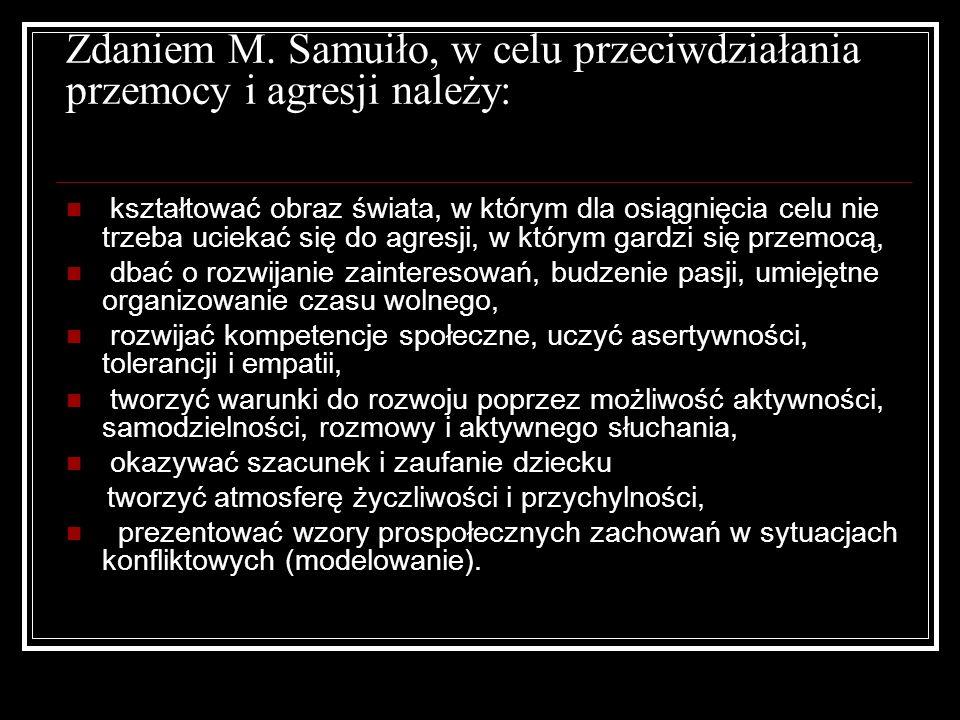 Zdaniem M. Samuiło, w celu przeciwdziałania przemocy i agresji należy: kształtować obraz świata, w którym dla osiągnięcia celu nie trzeba uciekać się