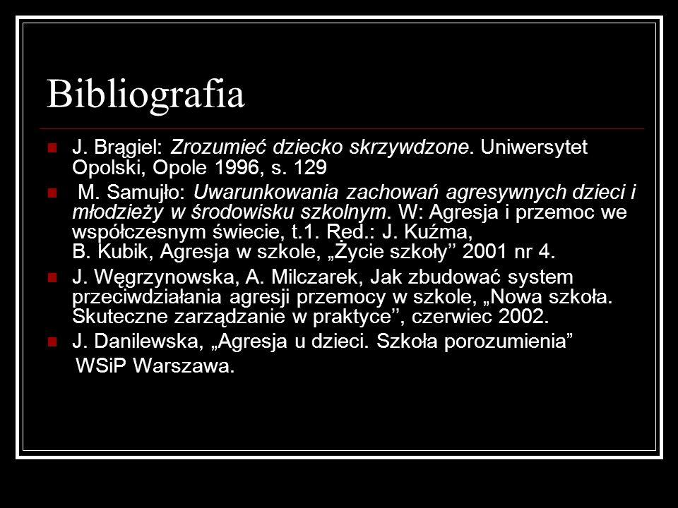 Bibliografia J. Brągiel: Zrozumieć dziecko skrzywdzone. Uniwersytet Opolski, Opole 1996, s. 129 M. Samujło: Uwarunkowania zachowań agresywnych dzieci