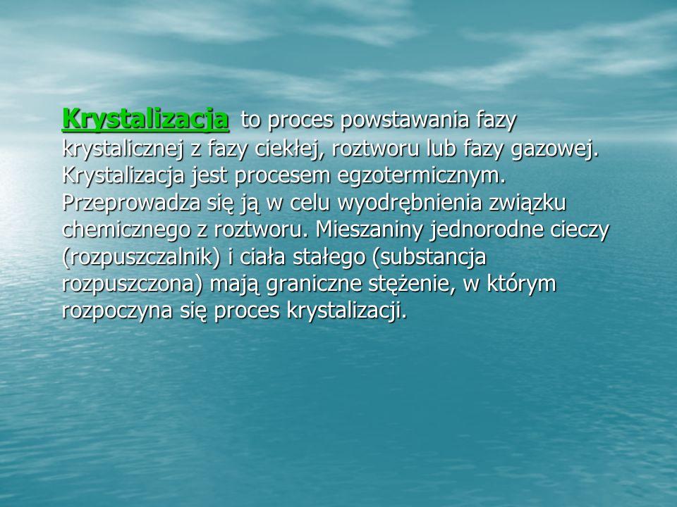 Krystalizacja Krystalizacja to proces powstawania fazy krystalicznej z fazy ciekłej, roztworu lub fazy gazowej.