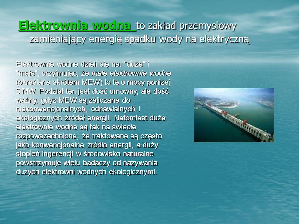 Elektrownia wodna Elektrownia wodna to zakład przemysłowy zamieniający energię spadku wody na elektryczną Elektrownia wodna Elektrownie wodne dzieli się na: duże i małe , przyjmując, że małe elektrownie wodne (określane skrótem MEW) to te o mocy poniżej 5 MW.