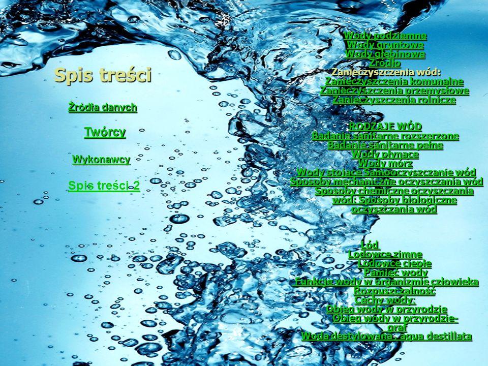 Spis treści Wody podziemne Wody podziemne Wody gruntowe Wody gruntowe Wody głębinowe Wody głębinowe Źródło Zanieczyszczenia wód: Zanieczyszczenia komunalne Zanieczyszczenia przemysłowe Zanieczyszczenia rolnicze Zanieczyszczenia wód: Zanieczyszczenia komunalne Zanieczyszczenia przemysłowe Zanieczyszczenia rolnicze Zanieczyszczenia komunalne Zanieczyszczenia przemysłowe Zanieczyszczenia rolnicze Zanieczyszczenia komunalne Zanieczyszczenia przemysłowe Zanieczyszczenia rolnicze RODZAJE WÓD RODZAJE WÓD Badanie sanitarne rozszerzone Badanie sanitarne rozszerzone Badanie sanitarne pełne Badanie sanitarne pełne Wody płynące Wody płynące Wody mórz Wody mórz Wody stojące Samooczyszczanie wód Wody stojące Samooczyszczanie wódWody stojące Samooczyszczanie wódWody stojące Samooczyszczanie wód Sposoby mechaniczne oczyszczania wód Sposoby chemiczne oczyszczania wód: Sposoby biologiczne oczyszczania wód Sposoby mechaniczne oczyszczania wód Sposoby chemiczne oczyszczania wód: Sposoby biologiczne oczyszczania wódSposoby mechaniczne oczyszczania wód Sposoby chemiczne oczyszczania wód: Sposoby biologiczne oczyszczania wódSposoby mechaniczne oczyszczania wód Sposoby chemiczne oczyszczania wód: Sposoby biologiczne oczyszczania wód Lód Lodowce zimne Lodowce ciepłe Lodowce zimne Lodowce ciepłe Pamięć wody Pamięć wody Lodowce zimne Lodowce ciepłePamięć wody Funkcje wody w organizmie człowieka Rozpuszczalność Funkcje wody w organizmie człowieka Rozpuszczalność Cechy wody: Cechy wody: Obieg wody w przyrodzie Obieg wody w przyrodzie- graf Obieg wody w przyrodzie Obieg wody w przyrodzie- grafObieg wody w przyrodzieObieg wody w przyrodzie- grafObieg wody w przyrodzieObieg wody w przyrodzie- graf Woda destylowana, aqua destillata Woda destylowana, aqua destillataWoda destylowana, aqua destillataWoda destylowana, aqua destillata Źródła danych Źródła danych Twórcy Wykonawcy Spis treści 2