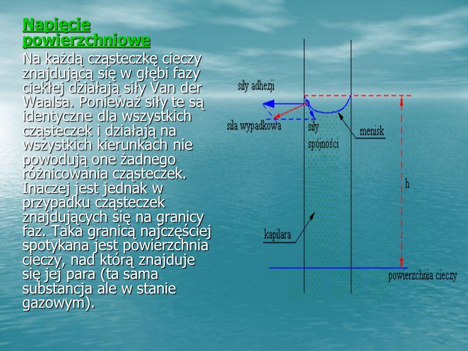 Napięcie powierzchniowe Napięcie powierzchniowe Na każdą cząsteczkę cieczy znajdującą się w głębi fazy ciekłej działają siły Van der Waalsa.