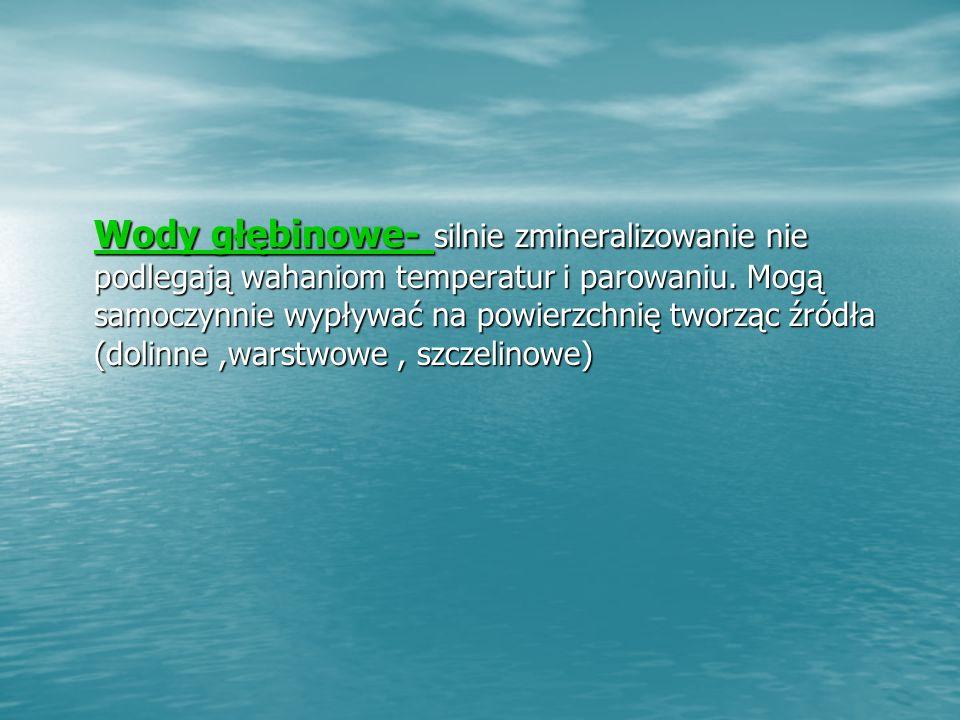 Wody głębinowe- Wody głębinowe- silnie zmineralizowanie nie podlegają wahaniom temperatur i parowaniu.