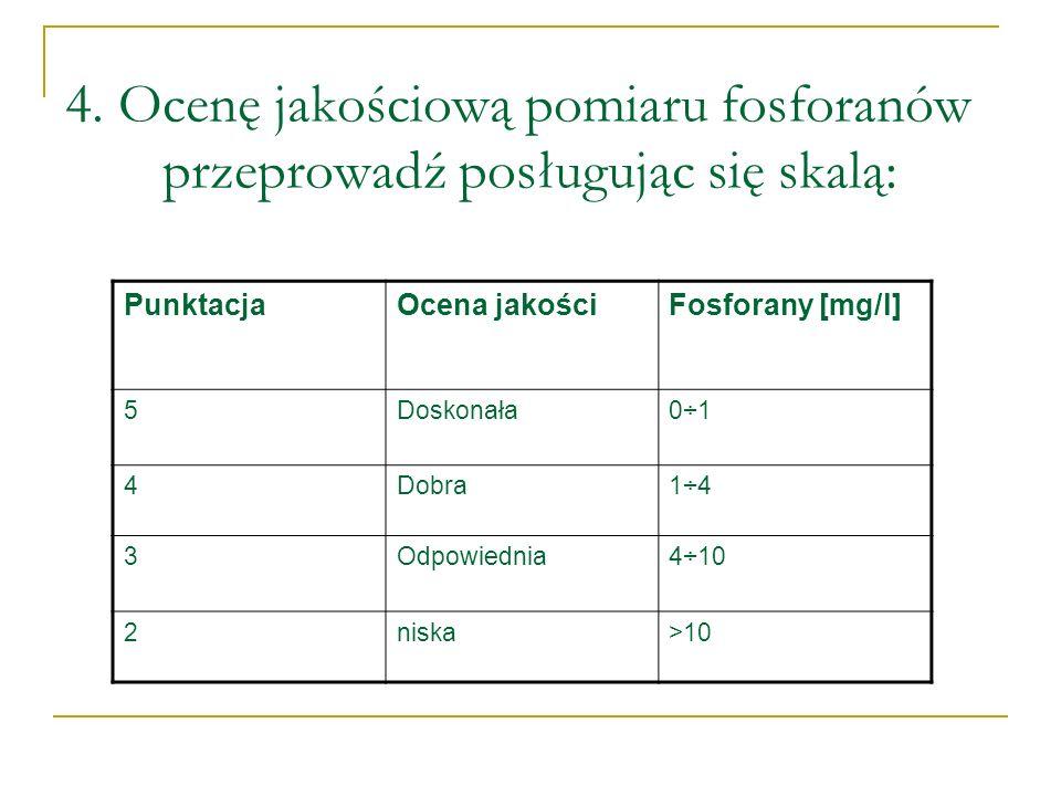 4. Ocenę jakościową pomiaru fosforanów przeprowadź posługując się skalą: PunktacjaOcena jakościFosforany [mg/l] 5Doskonała0÷1 4Dobra1÷4 3Odpowiednia4÷