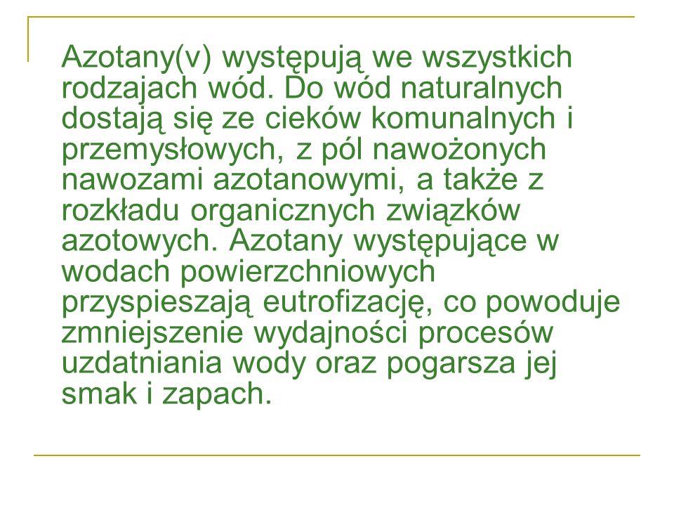 Azotany(v) występują we wszystkich rodzajach wód. Do wód naturalnych dostają się ze cieków komunalnych i przemysłowych, z pól nawożonych nawozami azot