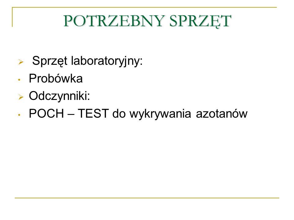 POTRZEBNY SPRZĘT Sprzęt laboratoryjny: Probówka Odczynniki: POCH – TEST do wykrywania azotanów