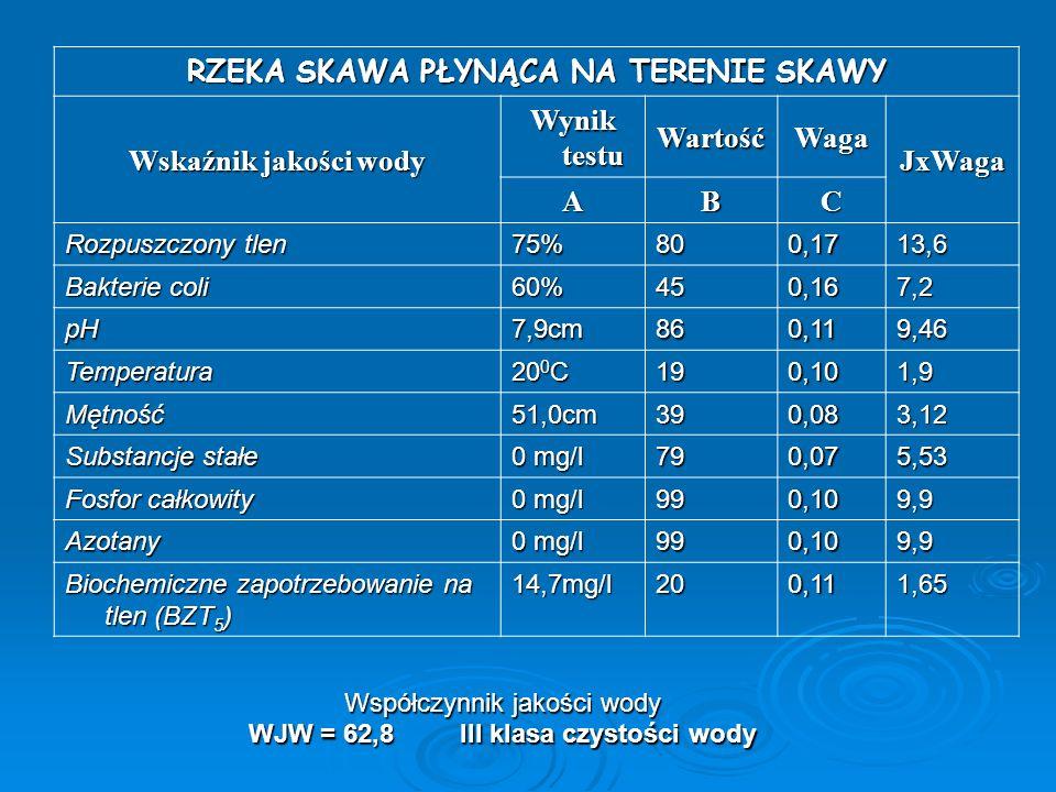 Współczynnik jakości wody WJW = 62,8III klasa czystości wody RZEKA SKAWA PŁYNĄCA NA TERENIE SKAWY Wskaźnik jakości wody Wynik testu WartośćWaga JxWaga