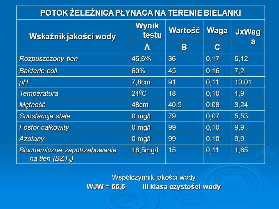 Współczynnik jakości wody WJW = 62,8III klasa czystości wody RZEKA SKAWA PŁYNĄCA NA TERENIE SKAWY Wskaźnik jakości wody Wynik testu WartośćWaga JxWaga ABC Rozpuszczony tlen 75%800,1713,6 Bakterie coli 60%450,167,2 pH7,9cm860,119,46 Temperatura 20 0 C 190,101,9 Mętność51,0cm390,083,12 Substancje stałe 0 mg/l 790,075,53 Fosfor całkowity 0 mg/l 990,109,9 Azotany 990,109,9 Biochemiczne zapotrzebowanie na tlen (BZT 5 ) 14,7mg/l200,111,65