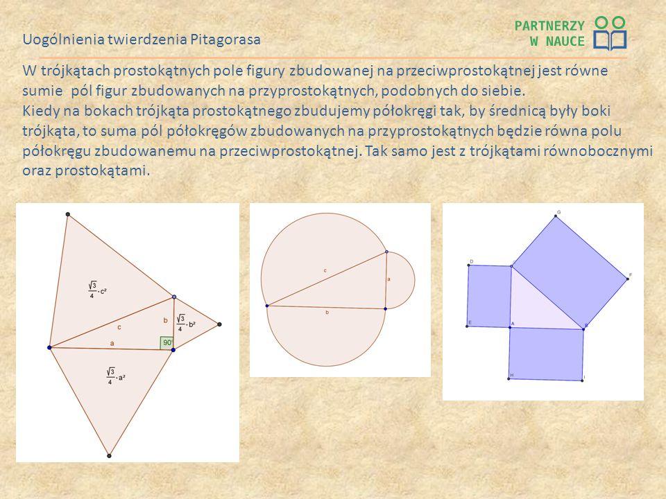 Uogólnienia twierdzenia Pitagorasa W trójkątach prostokątnych pole figury zbudowanej na przeciwprostokątnej jest równe sumie pól figur zbudowanych na