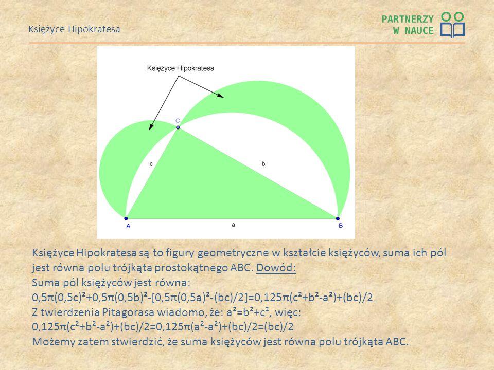 Księżyce Hipokratesa Księżyce Hipokratesa są to figury geometryczne w kształcie księżyców, suma ich pól jest równa polu trójkąta prostokątnego ABC. Do