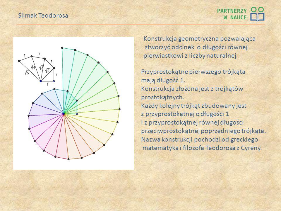 Ślimak Teodorosa Przyprostokątne pierwszego trójkąta mają długość 1. Konstrukcja złożona jest z trójkątów prostokątnych. Każdy kolejny trójkąt zbudowa