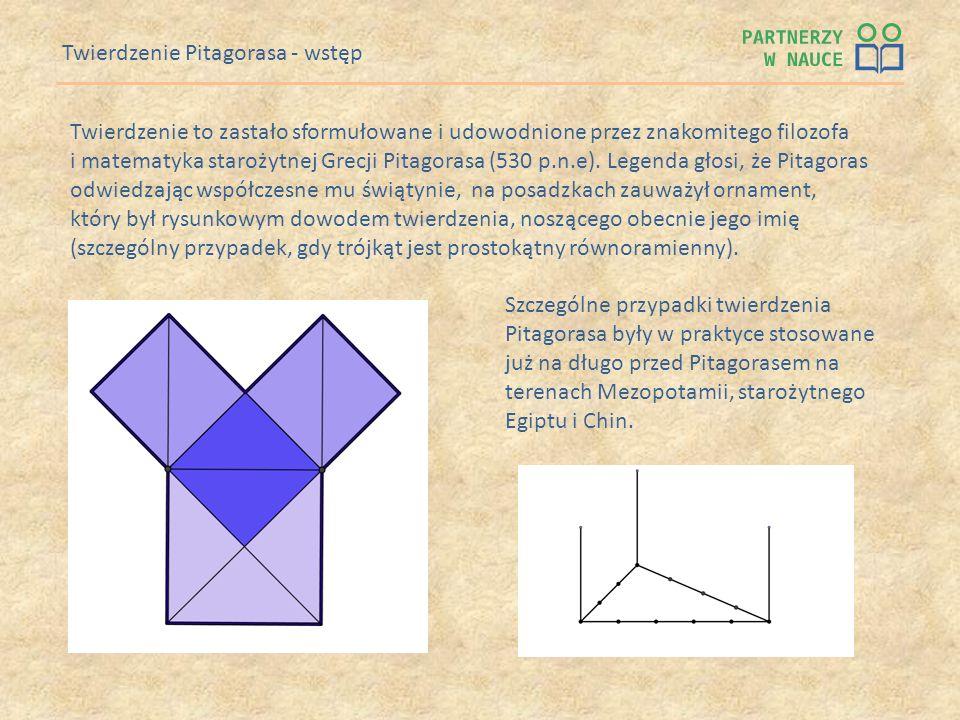 Twierdzenie Pitagorasa - wstęp Twierdzenie to zastało sformułowane i udowodnione przez znakomitego filozofa i matematyka starożytnej Grecji Pitagorasa