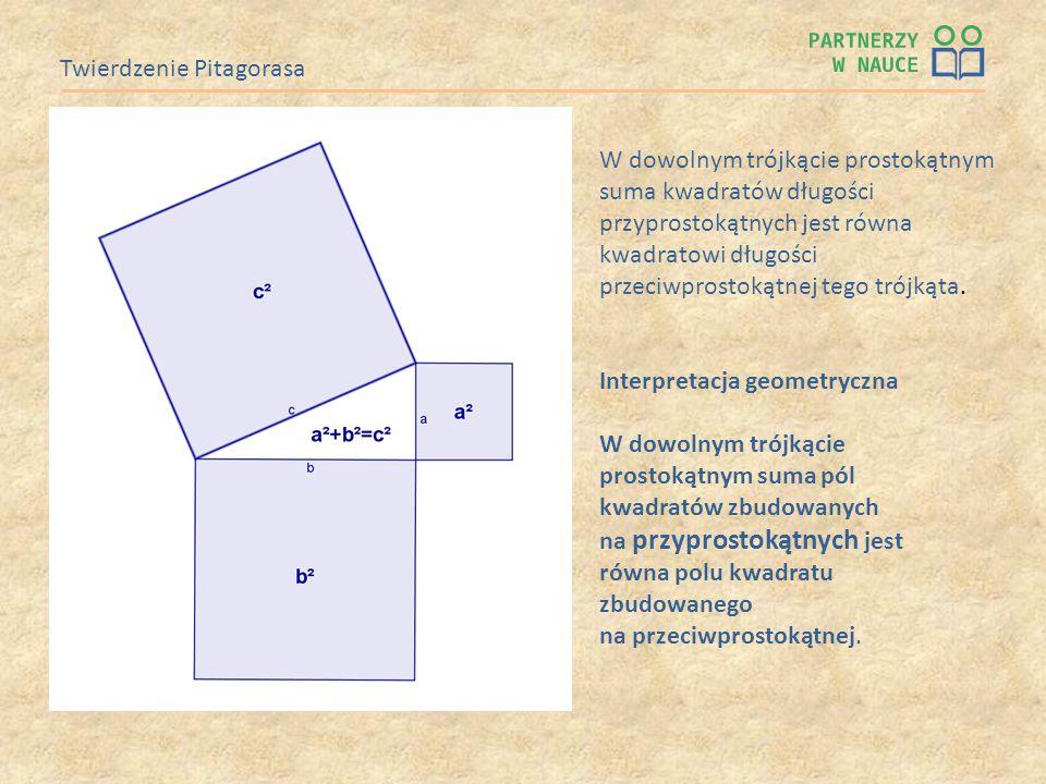 Twierdzenie Pitagorasa Interpretacja geometryczna W dowolnym trójkącie prostokątnym suma pól kwadratów zbudowanych na przyprostokątnych jest równa pol