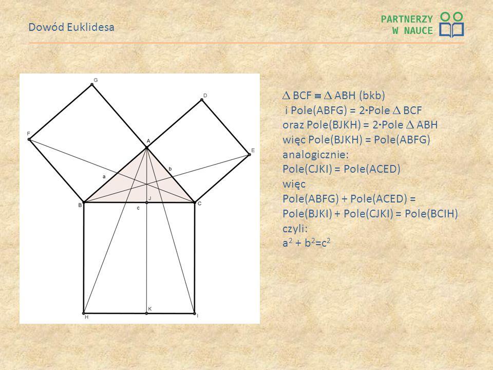 Dowód Euklidesa BCF ABH (bkb) i Pole(ABFG) = 2 Pole BCF oraz Pole(BJKH) = 2 Pole ABH więc Pole(BJKH) = Pole(ABFG) analogicznie: Pole(CJKI) = Pole(ACED