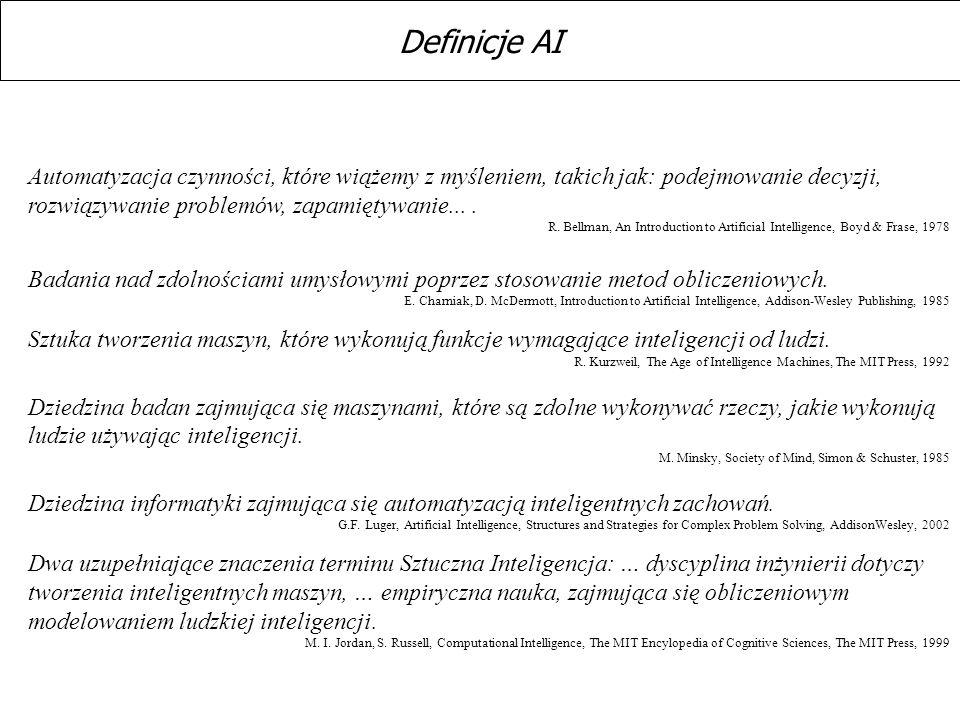 Automatyzacja czynności, które wiążemy z myśleniem, takich jak: podejmowanie decyzji, rozwiązywanie problemów, zapamiętywanie.... R. Bellman, An Intro