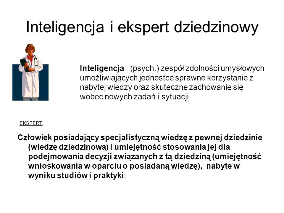 Inteligencja i ekspert dziedzinowy Inteligencja - (psych.) zespół zdolności umysłowych umożliwiających jednostce sprawne korzystanie z nabytej wiedzy