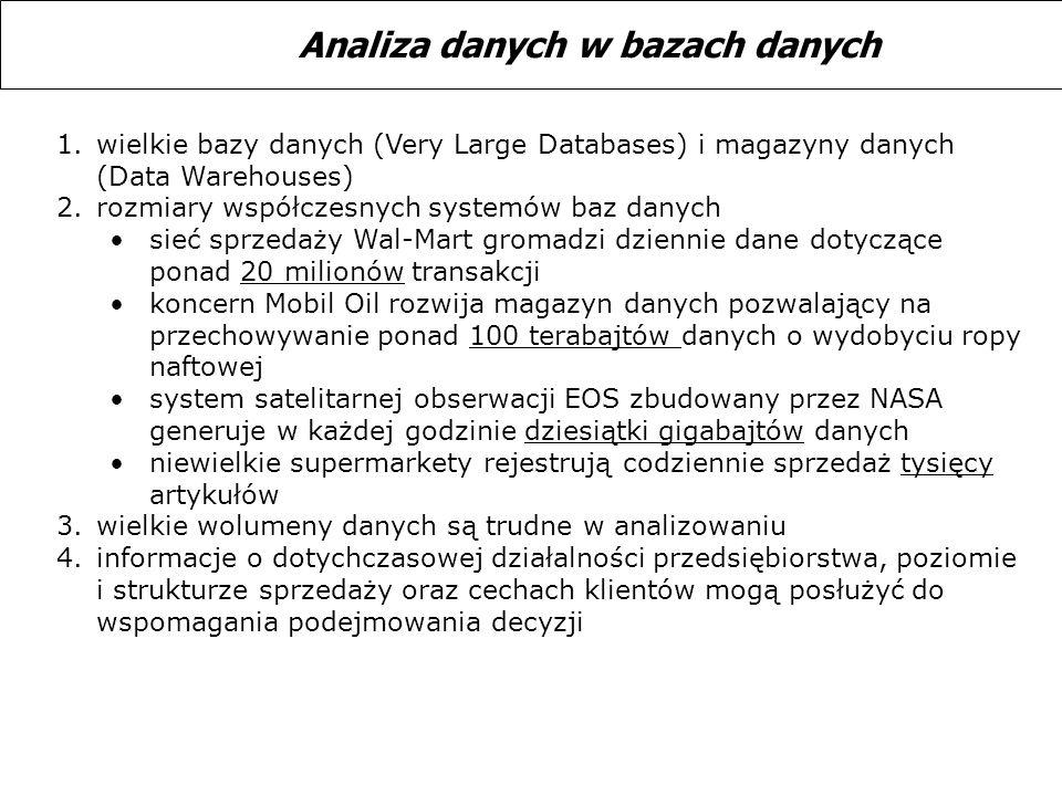 1.wielkie bazy danych (Very Large Databases) i magazyny danych (Data Warehouses) 2.rozmiary współczesnych systemów baz danych sieć sprzedaży Wal-Mart