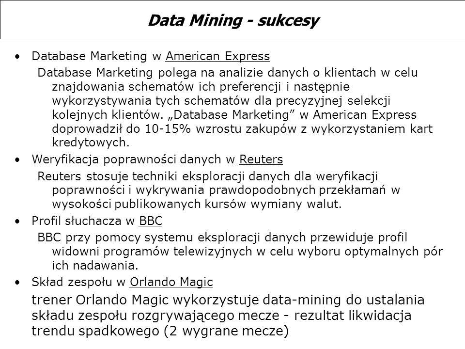 Database Marketing w American Express Database Marketing polega na analizie danych o klientach w celu znajdowania schematów ich preferencji i następni