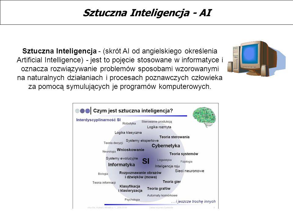 Sztuczna Inteligencja - (skrót AI od angielskiego określenia Artificial Intelligence) - jest to pojęcie stosowane w informatyce i oznacza rozwiązywani