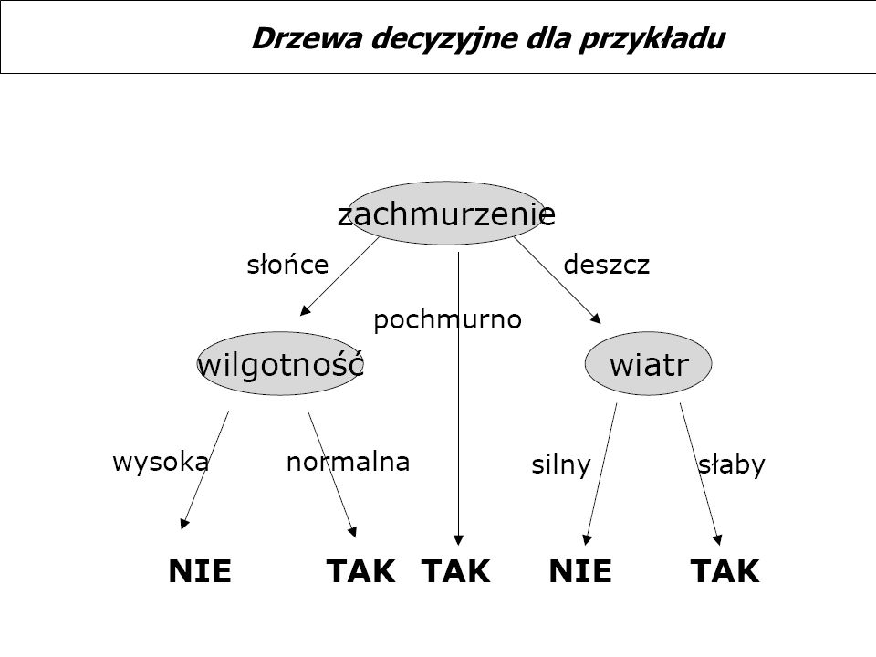 Drzewa decyzyjne dla przykładu
