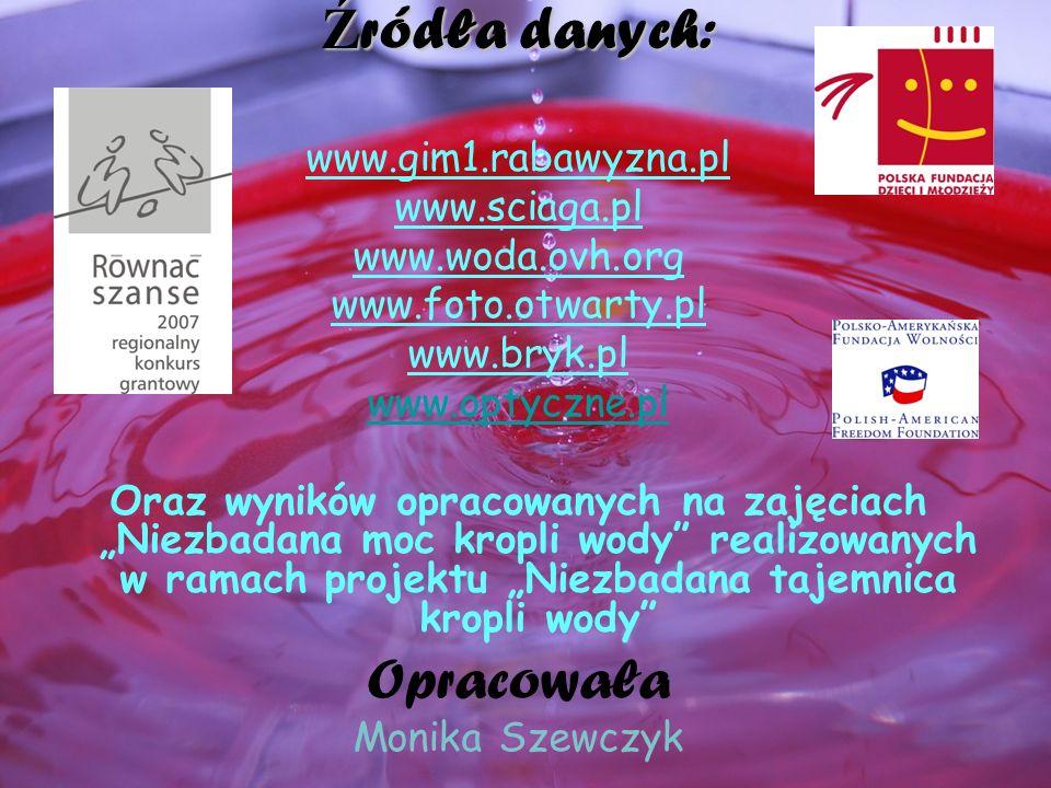 Ź ródła danych: www.gim1.rabawyzna.pl www.sciaga.pl www.woda.ovh.org www.foto.otwarty.pl www.bryk.pl www.optyczne.pl Oraz wyników opracowanych na zaję