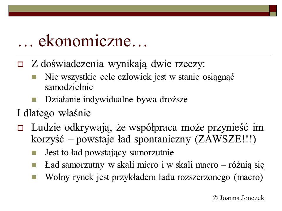 © Joanna Jonczek … ekonomiczne… Z doświadczenia wynikają dwie rzeczy: Nie wszystkie cele człowiek jest w stanie osiągnąć samodzielnie Działanie indywi