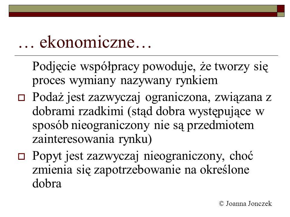 © Joanna Jonczek … ekonomiczne… Podjęcie współpracy powoduje, że tworzy się proces wymiany nazywany rynkiem Podaż jest zazwyczaj ograniczona, związana