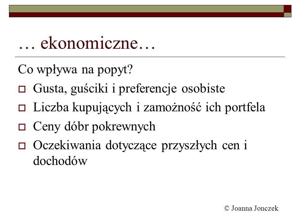 © Joanna Jonczek … ekonomiczne… Co wpływa na popyt? Gusta, guściki i preferencje osobiste Liczba kupujących i zamożność ich portfela Ceny dóbr pokrewn