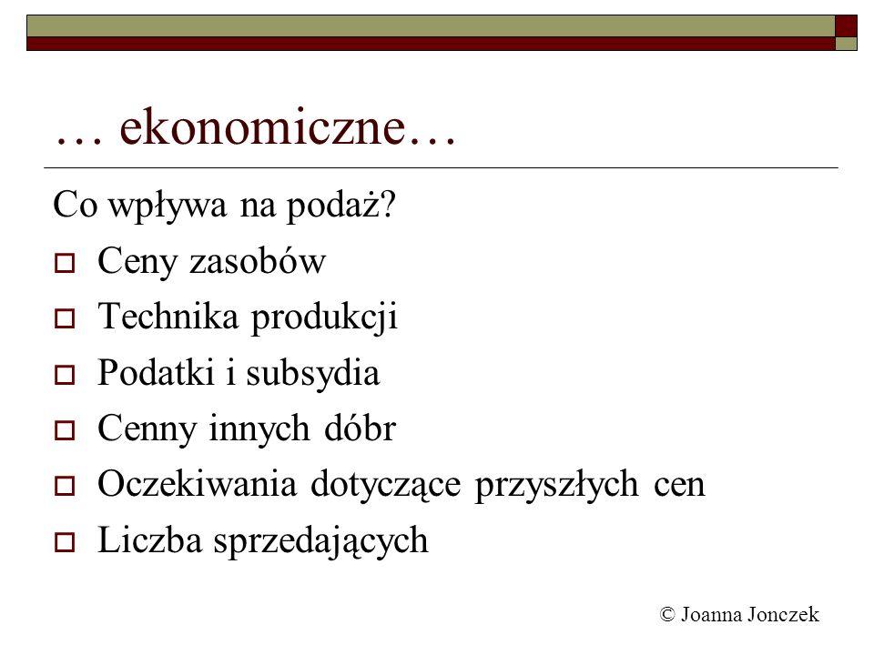 © Joanna Jonczek … ekonomiczne… Co wpływa na podaż? Ceny zasobów Technika produkcji Podatki i subsydia Cenny innych dóbr Oczekiwania dotyczące przyszł