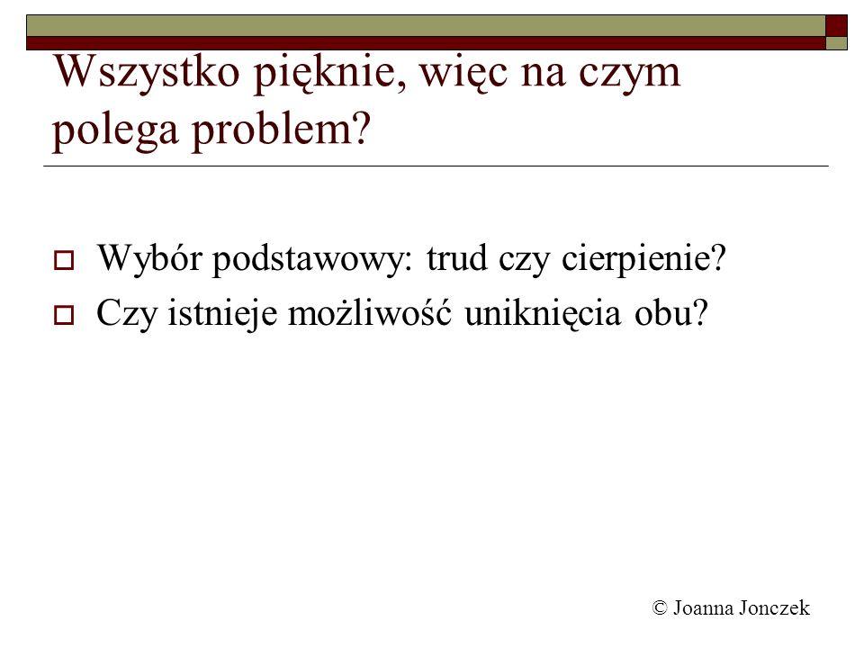 © Joanna Jonczek Wszystko pięknie, więc na czym polega problem? Wybór podstawowy: trud czy cierpienie? Czy istnieje możliwość uniknięcia obu?
