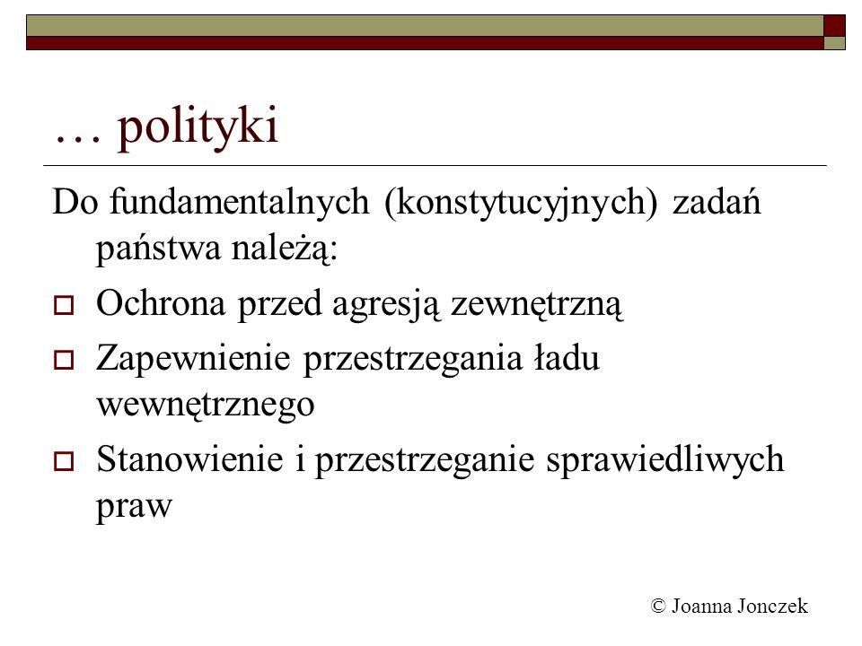 © Joanna Jonczek … polityki Do fundamentalnych (konstytucyjnych) zadań państwa należą: Ochrona przed agresją zewnętrzną Zapewnienie przestrzegania ład