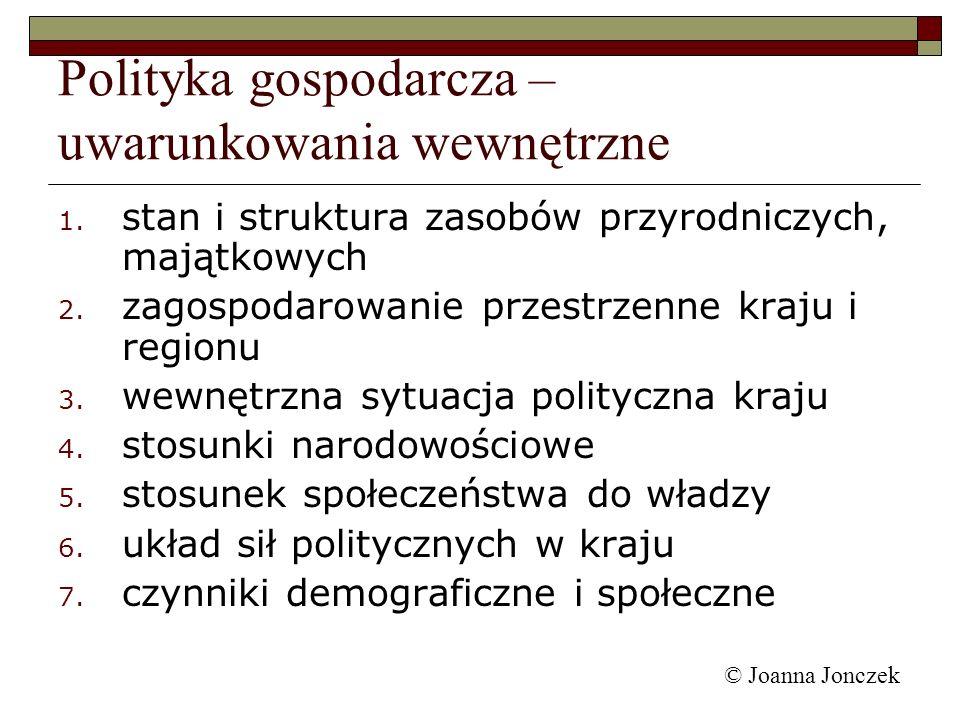 © Joanna Jonczek 1. stan i struktura zasobów przyrodniczych, majątkowych 2. zagospodarowanie przestrzenne kraju i regionu 3. wewnętrzna sytuacja polit