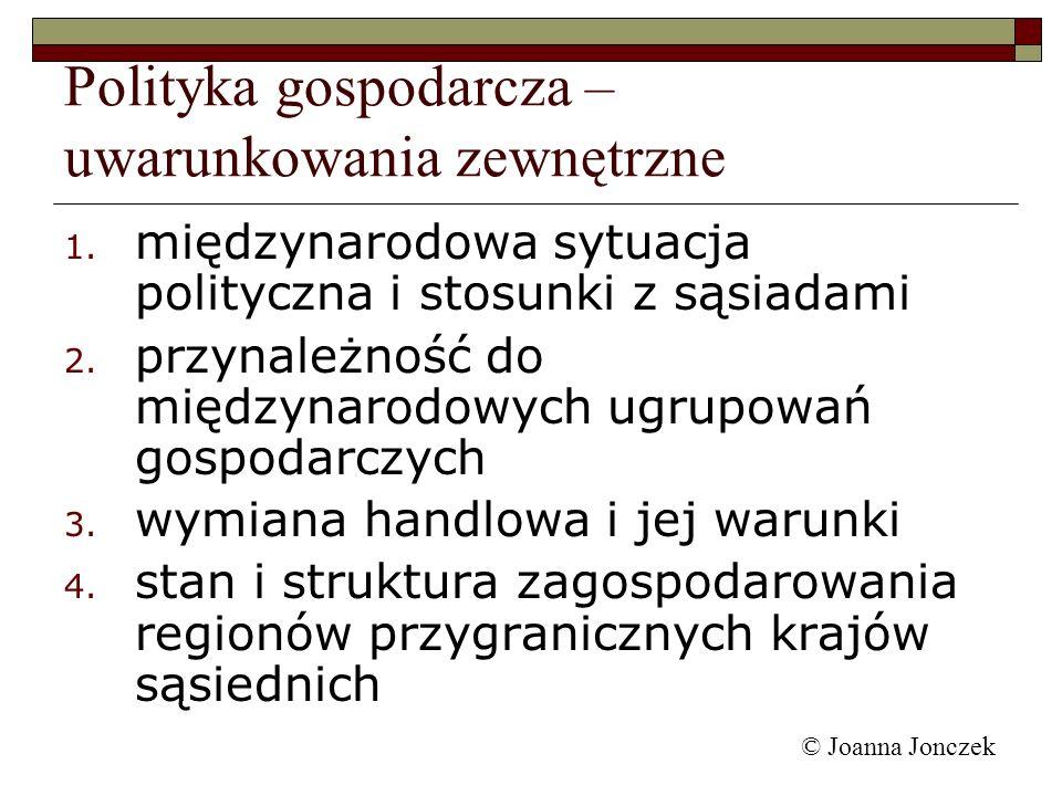 © Joanna Jonczek 1. międzynarodowa sytuacja polityczna i stosunki z sąsiadami 2. przynależność do międzynarodowych ugrupowań gospodarczych 3. wymiana