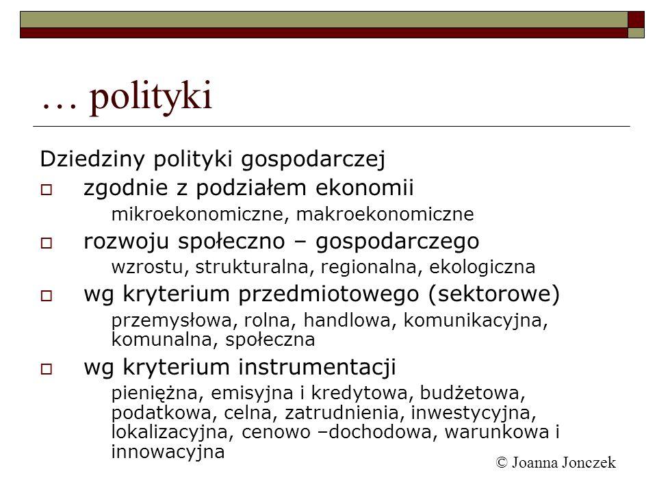 © Joanna Jonczek Dziedziny polityki gospodarczej zgodnie z podziałem ekonomii mikroekonomiczne, makroekonomiczne rozwoju społeczno – gospodarczego wzr