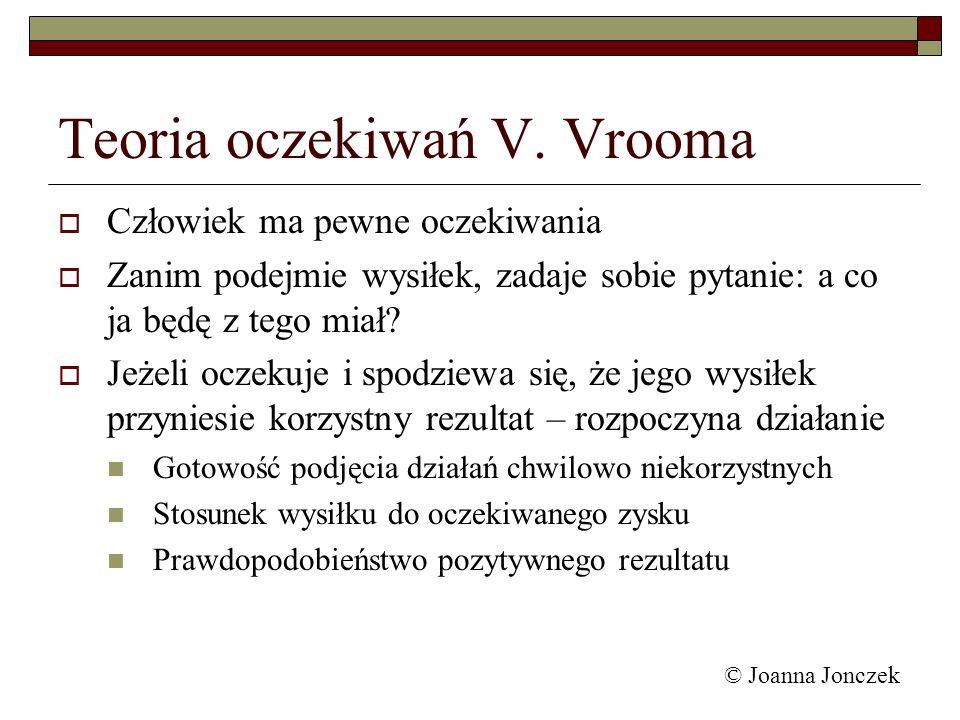 © Joanna Jonczek Teoria oczekiwań V. Vrooma Człowiek ma pewne oczekiwania Zanim podejmie wysiłek, zadaje sobie pytanie: a co ja będę z tego miał? Jeże