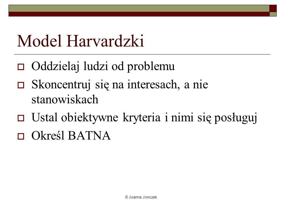 © Joanna Jonczek Model Harvardzki Oddzielaj ludzi od problemu Skoncentruj się na interesach, a nie stanowiskach Ustal obiektywne kryteria i nimi się p