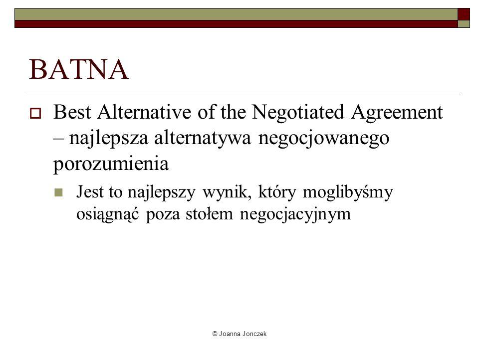 © Joanna Jonczek BATNA Best Alternative of the Negotiated Agreement – najlepsza alternatywa negocjowanego porozumienia Jest to najlepszy wynik, który