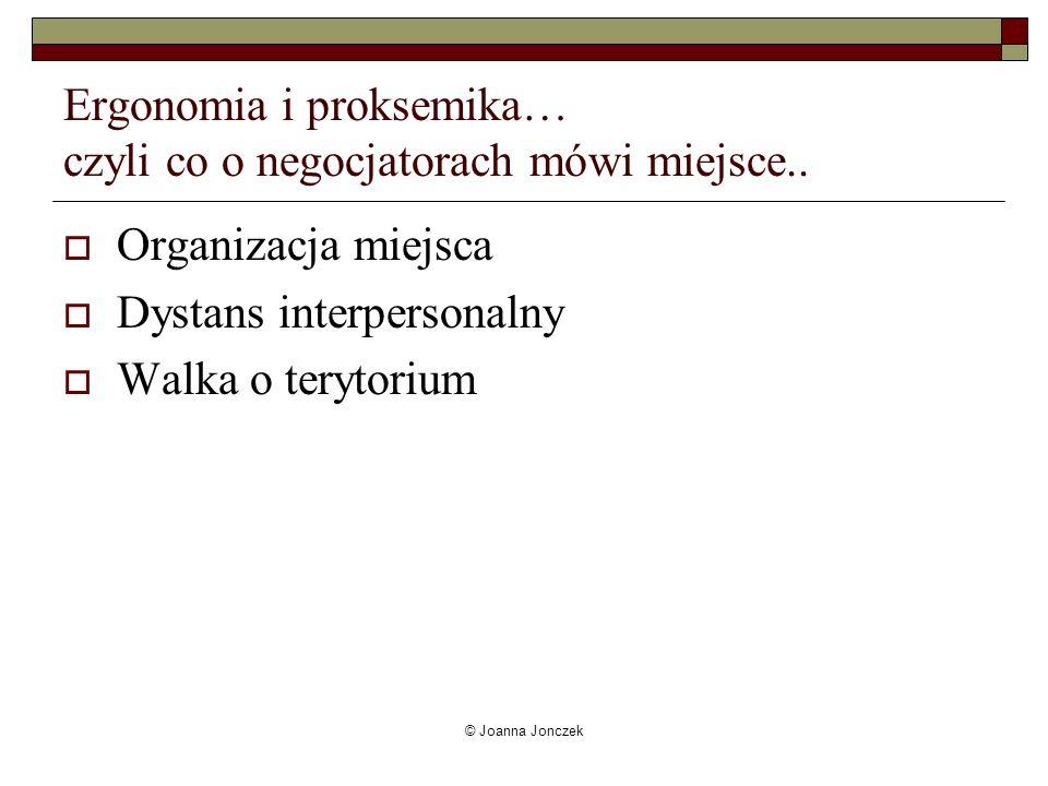 © Joanna Jonczek Ergonomia i proksemika… czyli co o negocjatorach mówi miejsce.. Organizacja miejsca Dystans interpersonalny Walka o terytorium