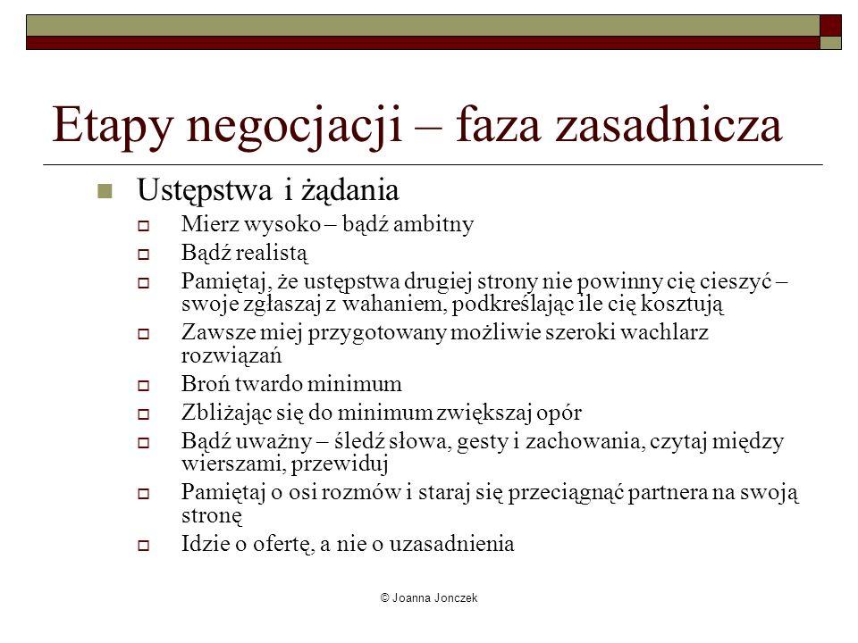 © Joanna Jonczek Etapy negocjacji – faza zasadnicza Ustępstwa i żądania Mierz wysoko – bądź ambitny Bądź realistą Pamiętaj, że ustępstwa drugiej stron