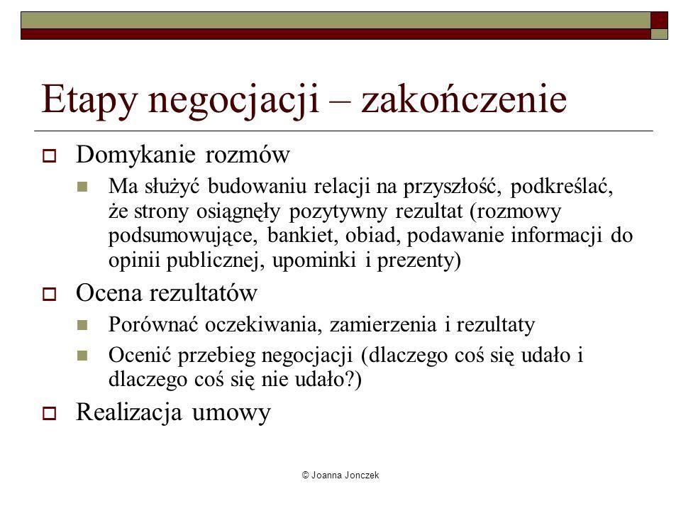 © Joanna Jonczek Etapy negocjacji – zakończenie Domykanie rozmów Ma służyć budowaniu relacji na przyszłość, podkreślać, że strony osiągnęły pozytywny