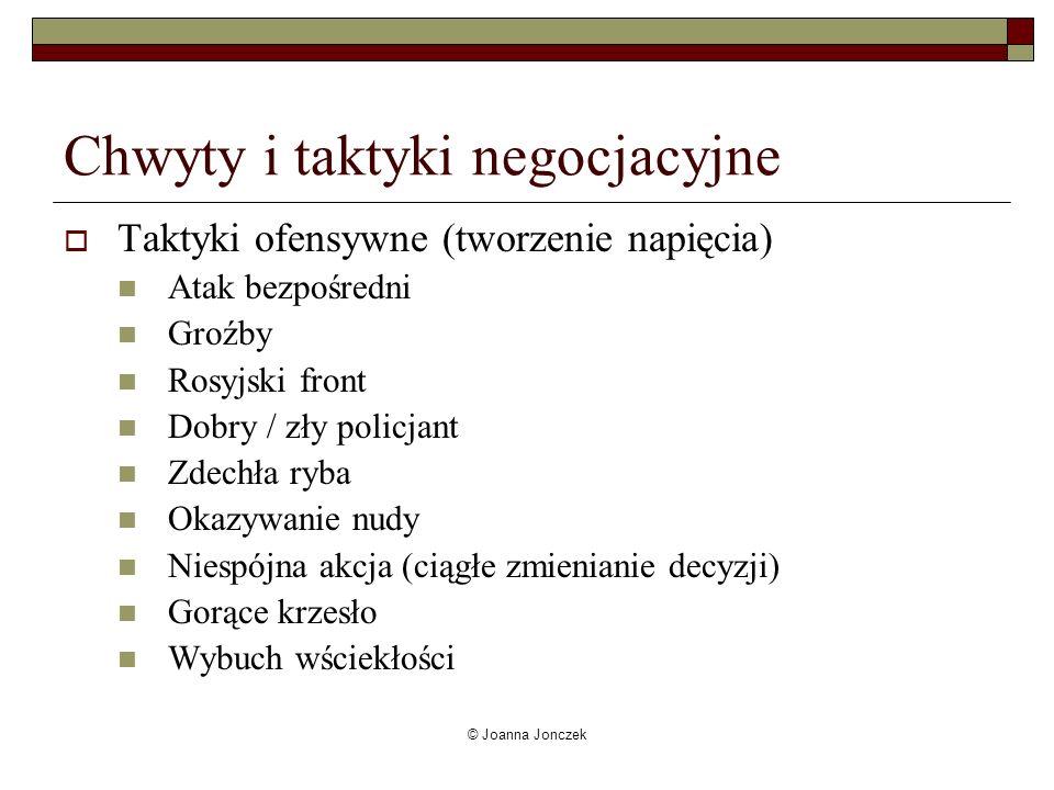 © Joanna Jonczek Chwyty i taktyki negocjacyjne Taktyki na słabszego Przepraszam, że żyję Wywoływanie litości Naiwniaczek (por.