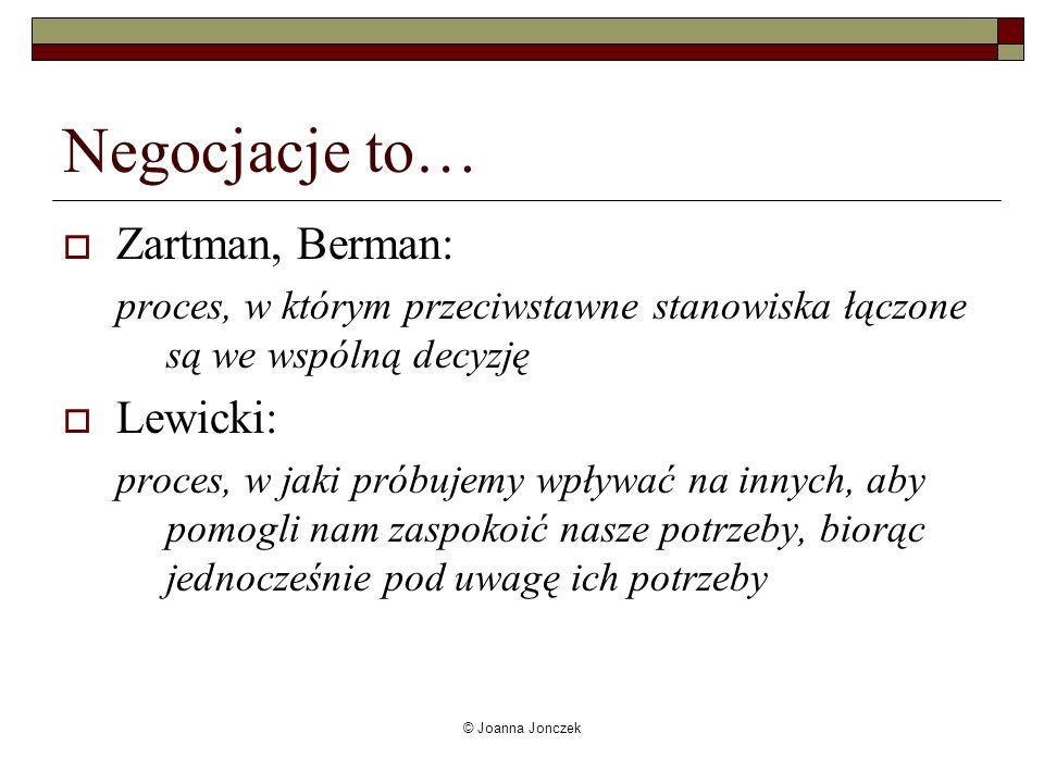 © Joanna Jonczek Negocjacje to… Zartman, Berman: proces, w którym przeciwstawne stanowiska łączone są we wspólną decyzję Lewicki: proces, w jaki próbu
