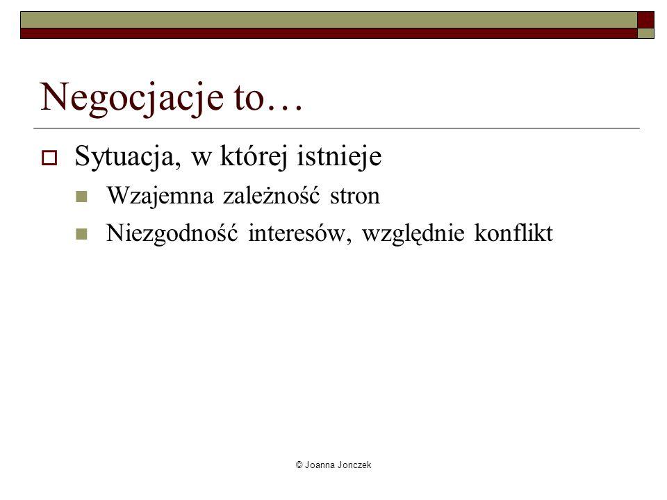 © Joanna Jonczek Negocjacje to… Sytuacja, w której istnieje Wzajemna zależność stron Niezgodność interesów, względnie konflikt