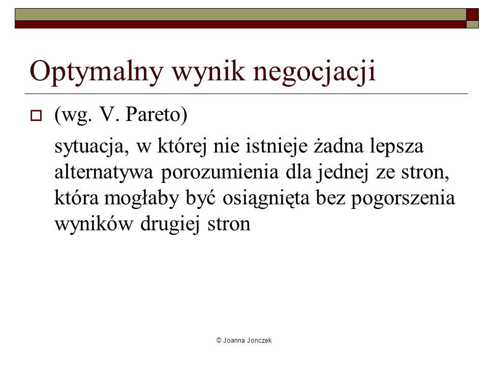 © Joanna Jonczek Rodzaje celów Sprzeczne, konfliktowe Wspólne (możliwość obustronnych korzyści) Różne (negocjacje umożliwiają / ułatwiają osiągniecie celu jednej ze stron, podczas gdy są obojętne dla drugiej)