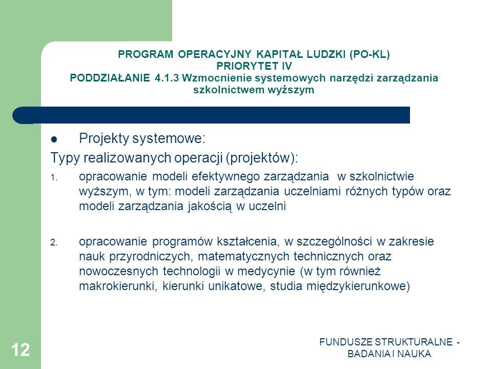 FUNDUSZE STRUKTURALNE - BADANIA I NAUKA 12 PROGRAM OPERACYJNY KAPITAŁ LUDZKI (PO-KL) PRIORYTET IV PODDZIAŁANIE 4.1.3 Wzmocnienie systemowych narzędzi